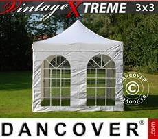 FleXtents Gazebi per Feste Xtreme Vintage Style 3x3m Bianco, inclusi 4 fianchi