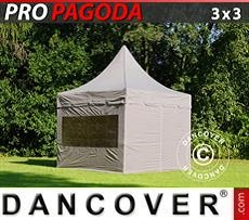 FleXtents Gazebi per Feste PRO Peak Pagoda 3x3m Latte, incluso 4 pareti…