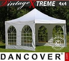 FleXtents Gazebi per Feste Xtreme Vintage Style 4x4m Bianco, inclusi 4 fianchi