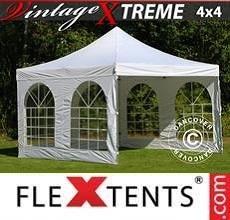 Tenda per racing Vintage Style 4x4m Bianco, inclusi 4 fianchi
