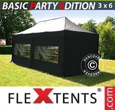 Tenda per racing Basic v.2, 3x6m Nero, inclusi 6 fianchi