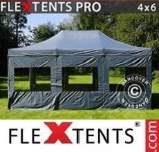 Tenda per racing PRO 4x6m Grigio, inclusi 8 fianchi