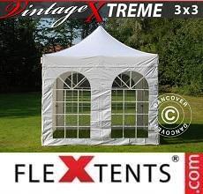 Gazebo pieghevole Xtreme Vintage Style 3x3m Bianco, inclusi 4 fianchi