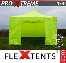 Gazebo pieghevole Xtreme 4x4m Giallo Fluo/verde, inclusi 4 fianchi