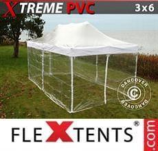 Gazebo pieghevole Xtreme 3x6m Trasparente, inclusi 6 fianchi