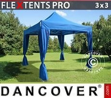 Tendoni Gazebi Party PRO 3x3m Blu, incl. 4 tendaggi decorativi