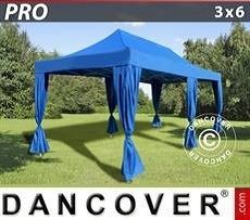 Tendoni Gazebi Party PRO 3x6m Blu, incl. 6 tendaggi decorativi
