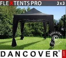 Tendoni Gazebi Party  PRO 3x3m Nero, incl. 4 tendaggi decorativi
