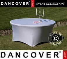 Copri-tavolo elasticizzato, Ø152x74cm, Bianco