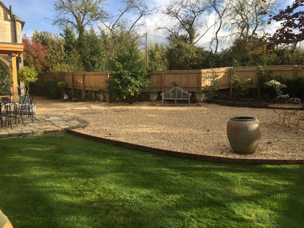 Garden landscaping, driveway, patio and fencing
