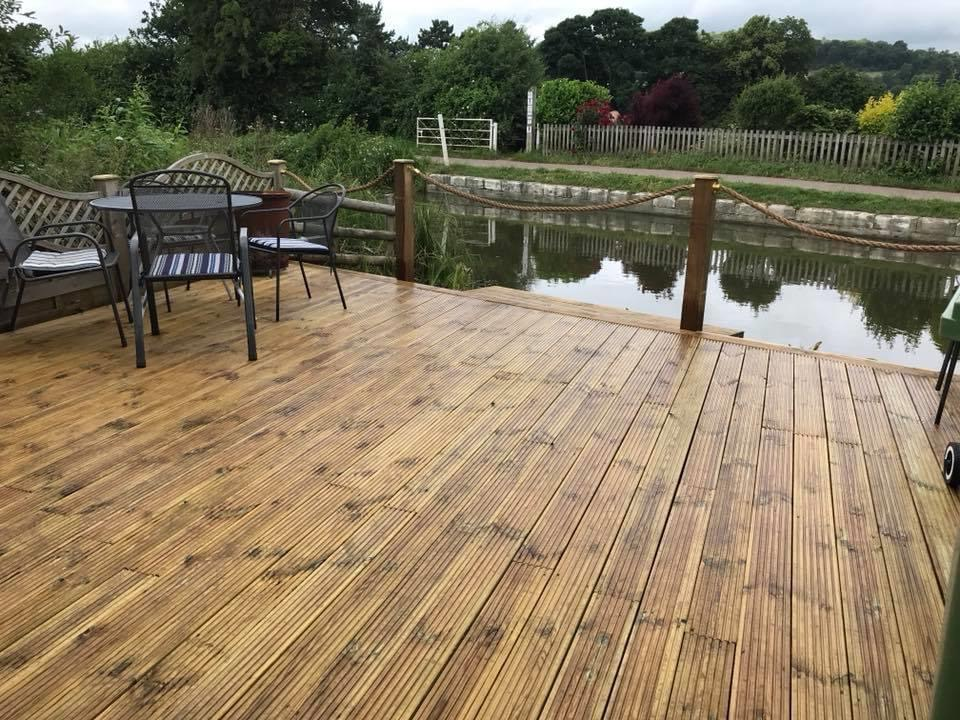 Waterside decked seating area