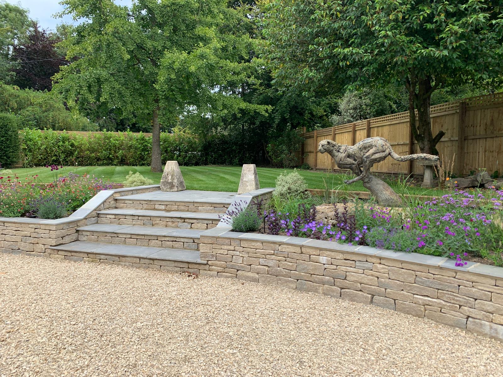Gravel drive and stone steps