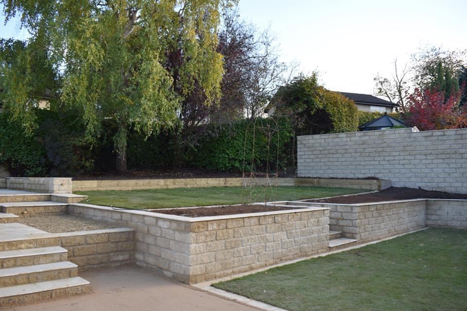 Terraced landscaped garden