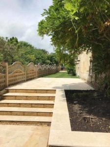 New fencing, paving, borders and patio