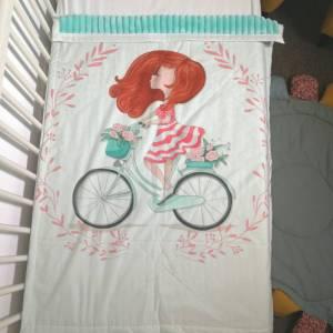 paturica minky fata pe bicicleta