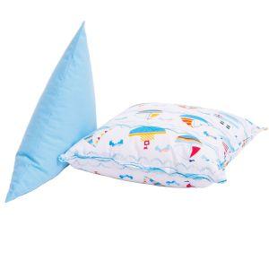 set de perne din bumbac triunghi bleu si patrat imprimat cu barcute - perne pentru copii
