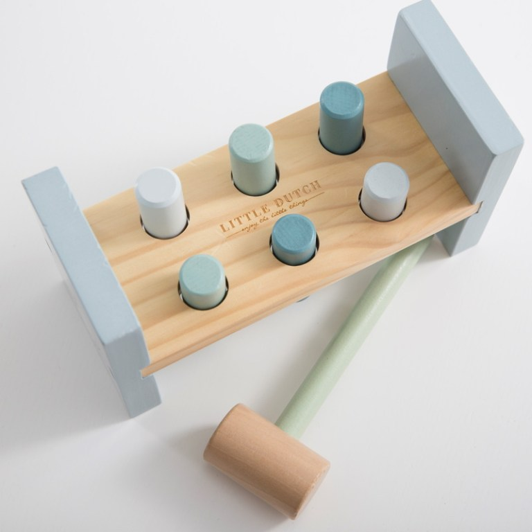 Joc ciocan si cilindri din lemn - Little Dutch