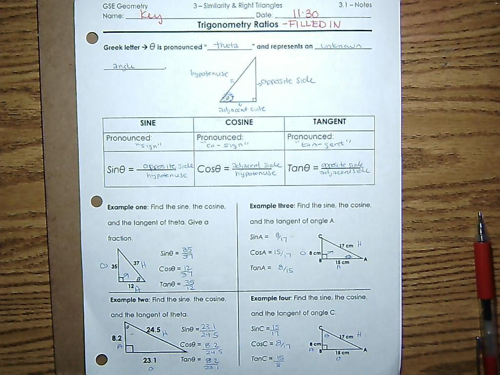 Unit 3 Right Triangle Trig