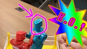rock em sock em robots blue bomber knocked out