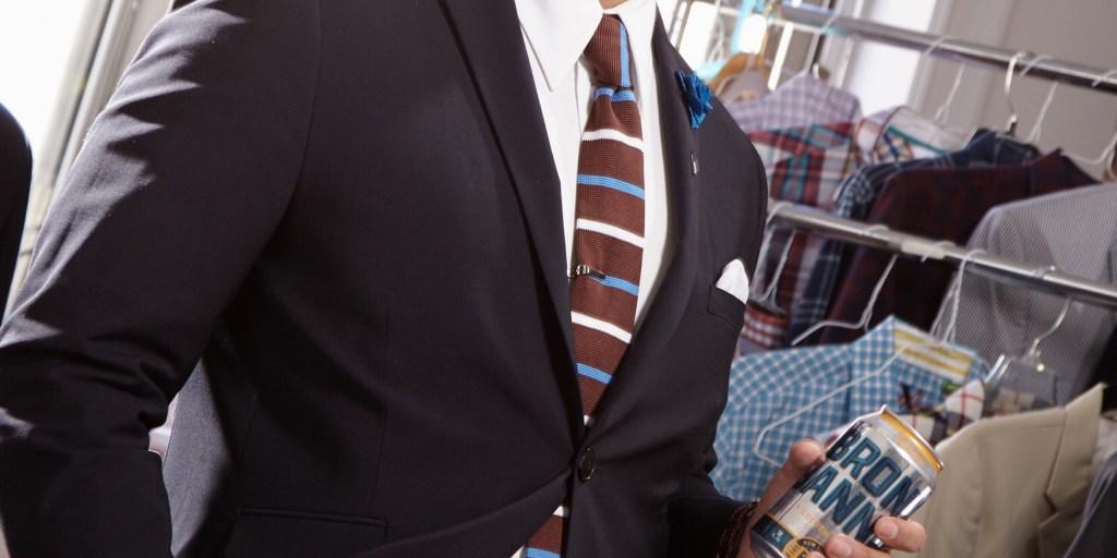 blue suit brown accessories