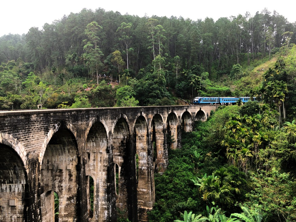 Tog ved Nine Arch Bridge i Sri Lanka