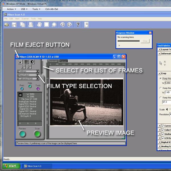 The Nikon Scan 4 interface on Windows Virtual XP.