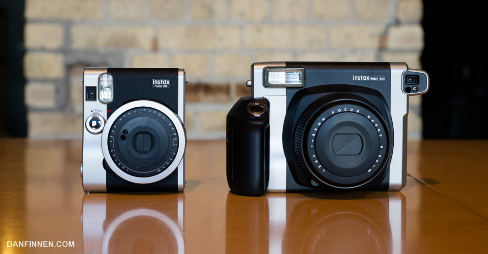 The Fuji Instax Mini 90 is a much more attractive and reasonably sized camera, but the film it uses is half the size of what the 300 spits out.