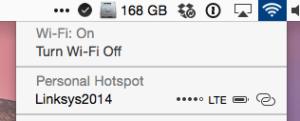 Instant Hotspot menu