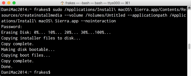Using createinstallmedia in Terminal to create a Sierra installer drive.