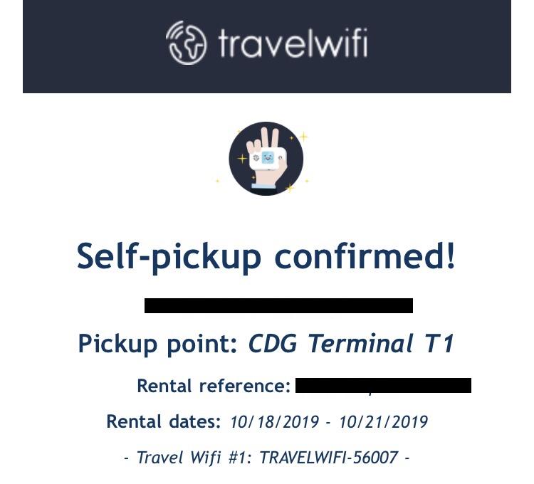 フランス Travel WiFI ピックアップ完了時に届いたメール