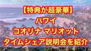 【特典が超豪華】ハワイ コオリナ マリオット タイムシェア説明会を紹介