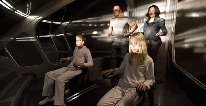 The Rock and friends in a spaceship