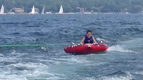 Tubing on Lake Geneva.