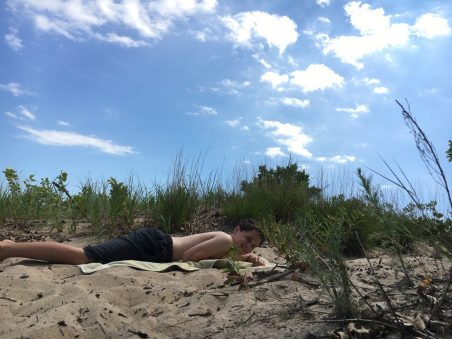 Getting some sun at Illinois Beach State Park.