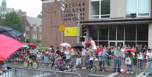 Good shot of rainy scene with unicyclist