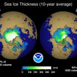 Arctic Ice comparison image by NOAA/GFDL