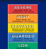 Homeland Security Advisory System color chart- Via Wikipedia