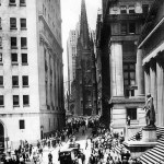 Wall Street- stock exchange on the right. Via Flickr (commons)