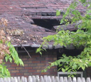 Big hole in neighbor's roof