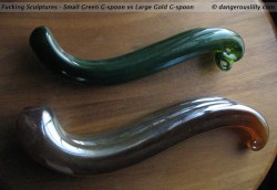 Fucking Sculptures - Green Small G-spoon vs Gold Large G-spoon