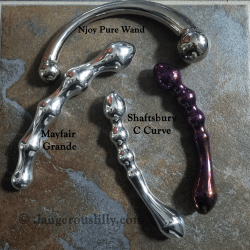 Crowned Jewels Mayfair and Shaftsbury aluminum, Shaftsbury Titanium, compared to the Njoy Pure Wand for size and shape.