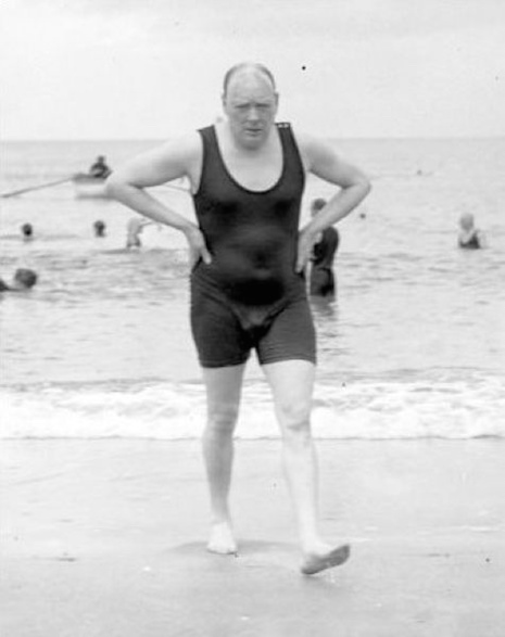 Winston Churchill Churchill after bathing in the waters of the Channe