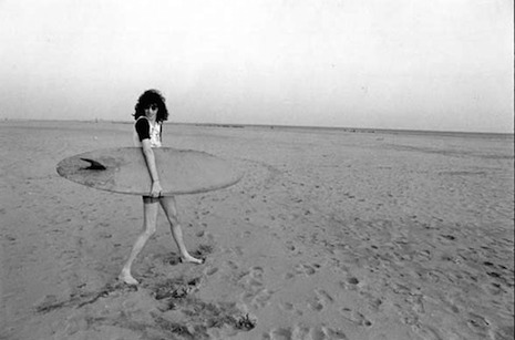 Joey Ramone and surfboard at the beach