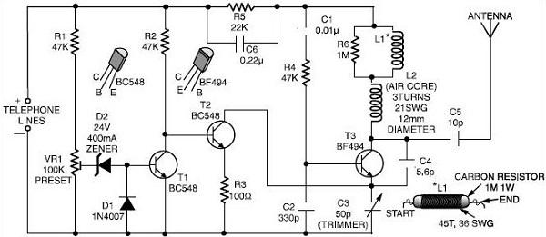 Telephone FM transmiter, AKA phone bug « Dangerous Prototypes