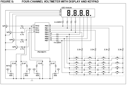 App note: Four channel digital voltmeter with display and