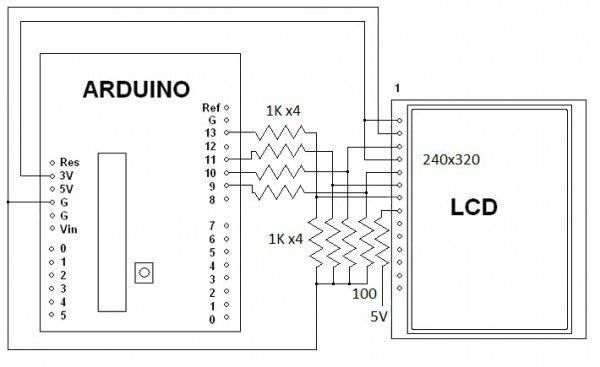 2.2 or 2.4 or 2.8 inch SPI TFT LCD ILI9341 to Arduino Uno