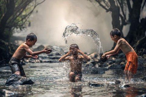 Trẻ Em, Sông, Tắm, Bé Trai, Châu Á, Chàng Trai Châu Á