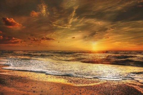 Hoàng Hôn, Phía Bắc Biển, Biển, Bầu Không Khí Buổi Tối