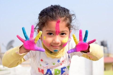 Con Gái, Màu Sắc, Holi, Ngày Hội, Trẻ Em, Châu Á