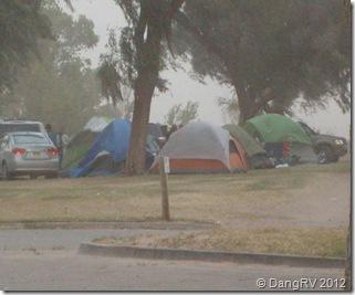 Tenters caught in storm